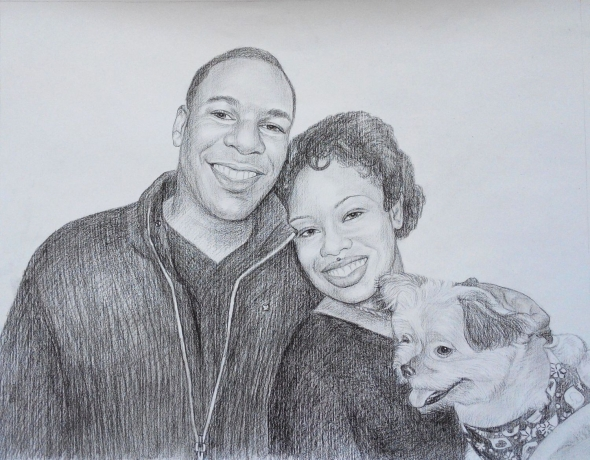 charcoal drawing of a couple and their dog