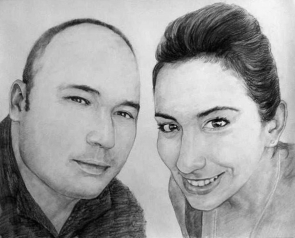 charcoal drawing of a couple
