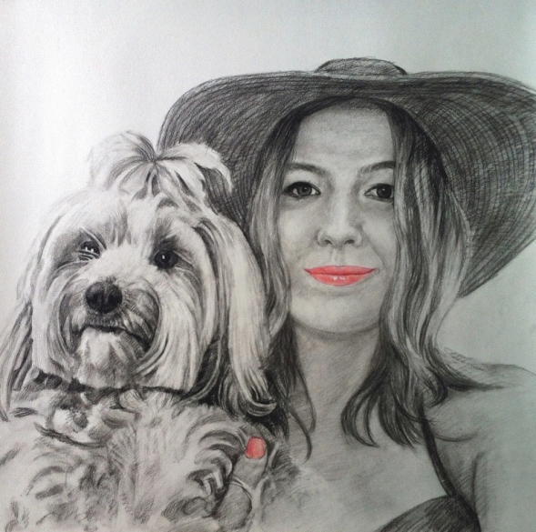 charcoal portrait of a lady and her dog