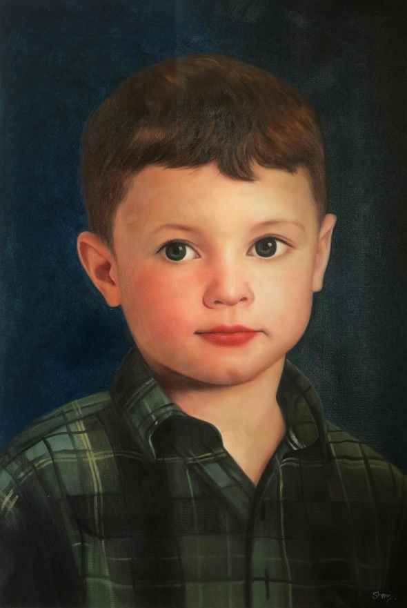 oil painting from photo of a young boy