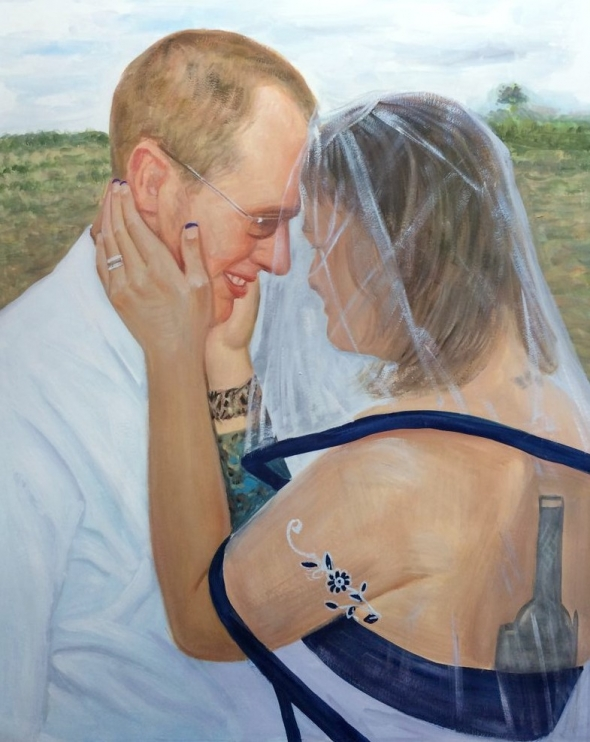 pastel wedding portrait
