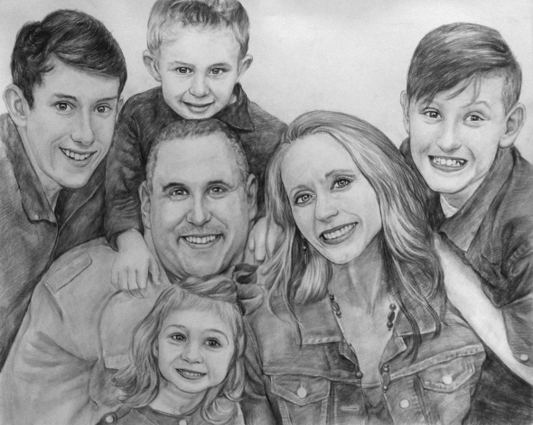 In 2010 I had Charcoal drawings done of my Daughter and her Husband and my Oldest son and his two  teen son and daughter. I was extremely happy with the fine work...but I did not have my other son and his family done at that time because his family was