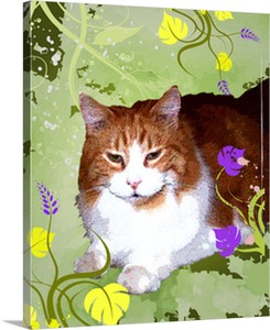 Mellow Cat on Pop Art Canvas from Photograph