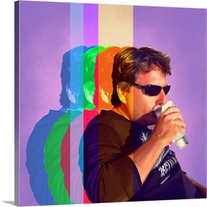 Man Drinking on Canvas Pop Art