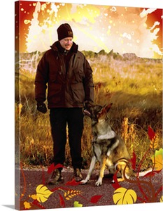 Fall Time Man with Dog Photo on Pop Art