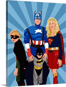 Superhero Family on Pop Art