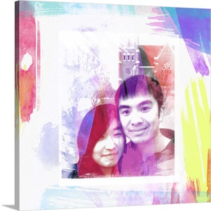 Photo to Pop Art Canvas of Couple in Front of a Church