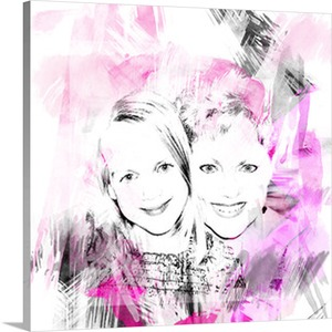 Pink Mom and Daughter on Canvas Pop Art