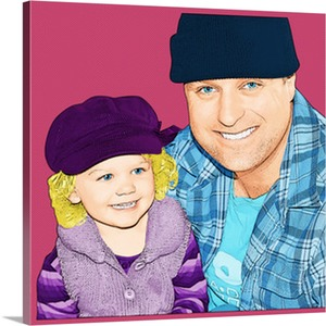 Dad and Daughter in Hats on Canvas Pop Art