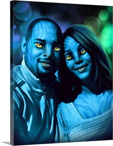 Fun Pop Art Canvas of Avatar Couple