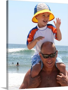 Photograph of Son and Dad at the Beach on Canvas
