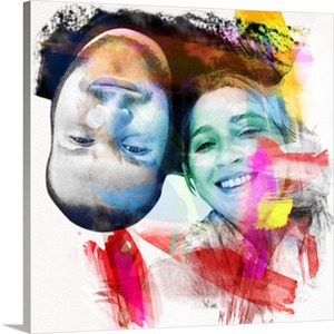 Upside Down Couple in Photo to Pop Art Canvas