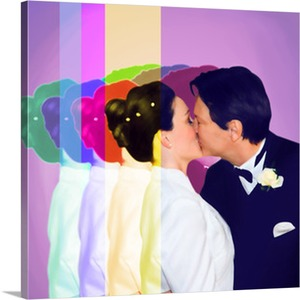 First Kiss for Couple on a Pop Art Canvas