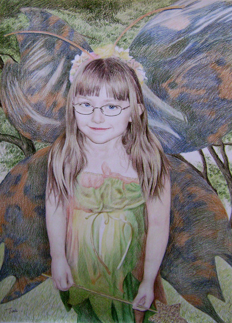 color pencil commissioned portrait of a girl
