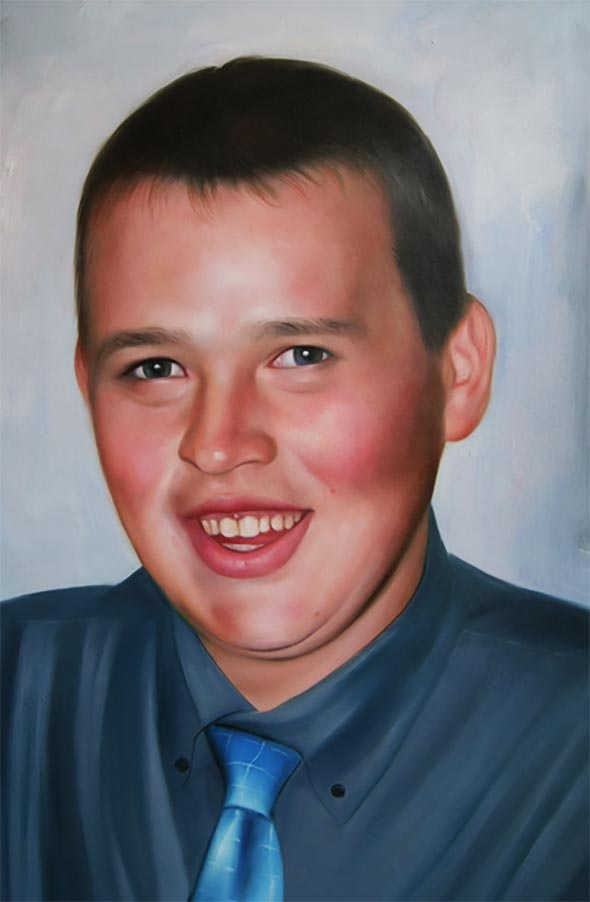 memorial portrait in oil of a young guy