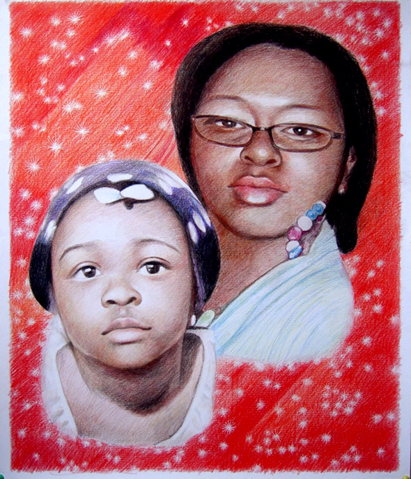 color pencil portrait of two people