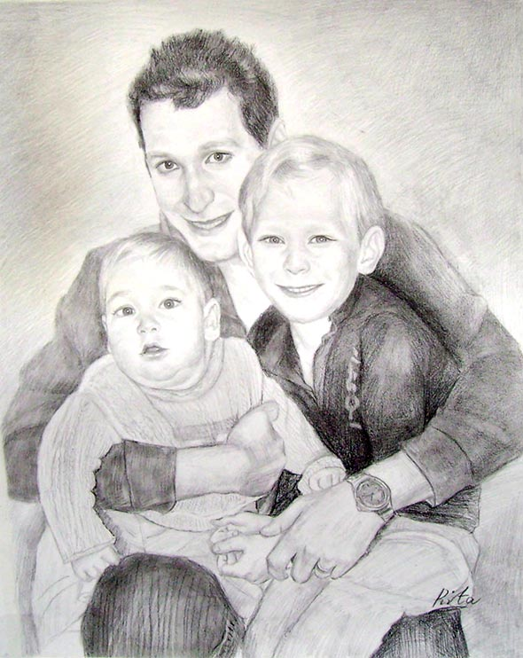 black pencil drawing of father and his boys