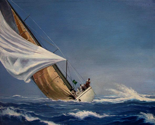oil painting of a sail boat in a storm