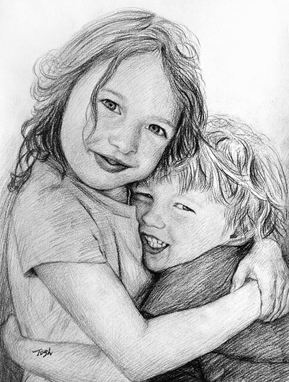 charcoal portrait of two children