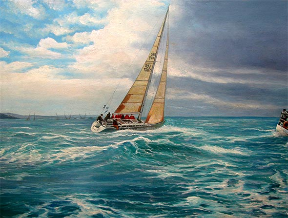 oil painting of a yacht sailing in rough sea