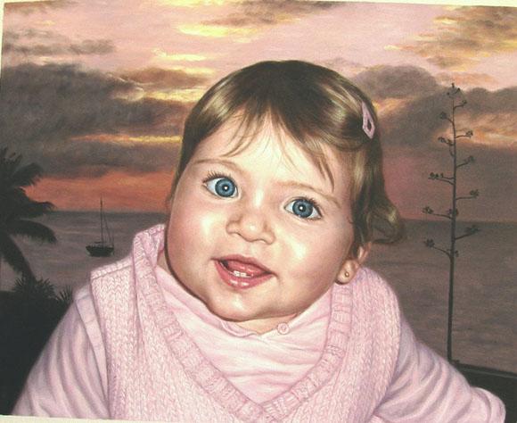 foto de un niño como retrato al óleo