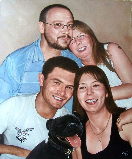 happy family oil portrait