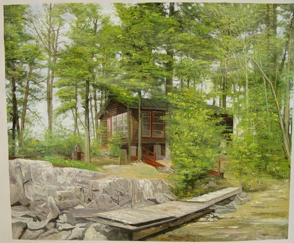 oil painting of a house in the forest