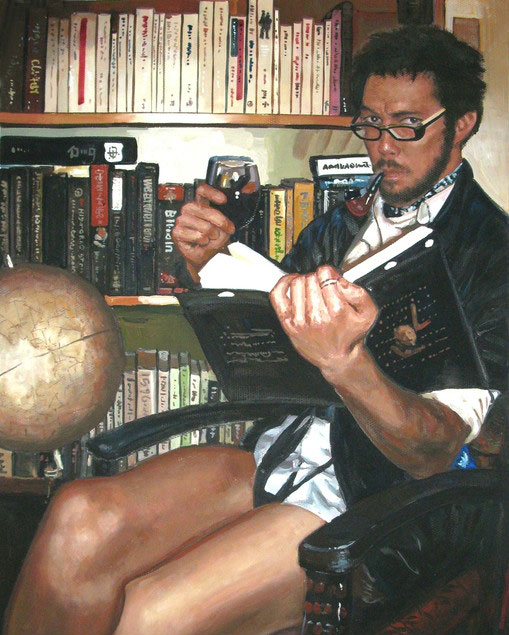 pastel portrait of a man reading a book