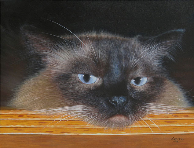 cat painting in oil