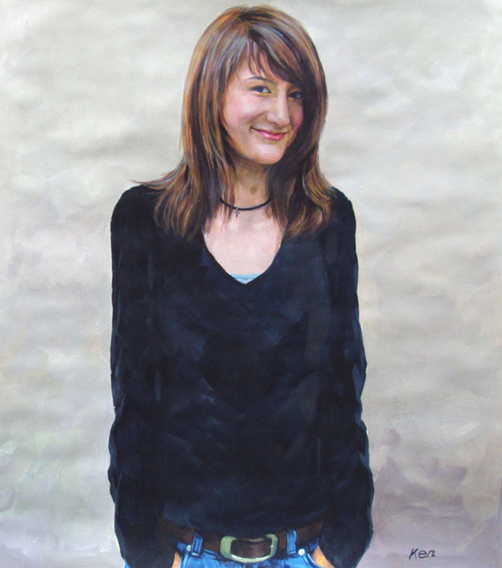 Pastellgemälde von einer jungen Frau