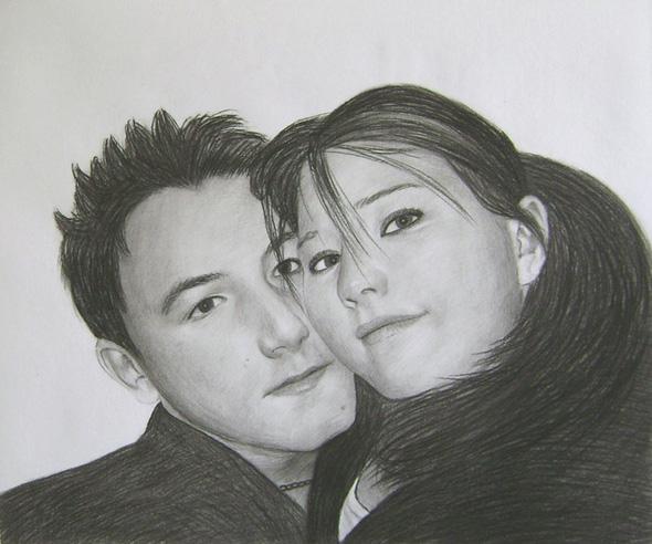 Peinture artistique fusain d'un couple.