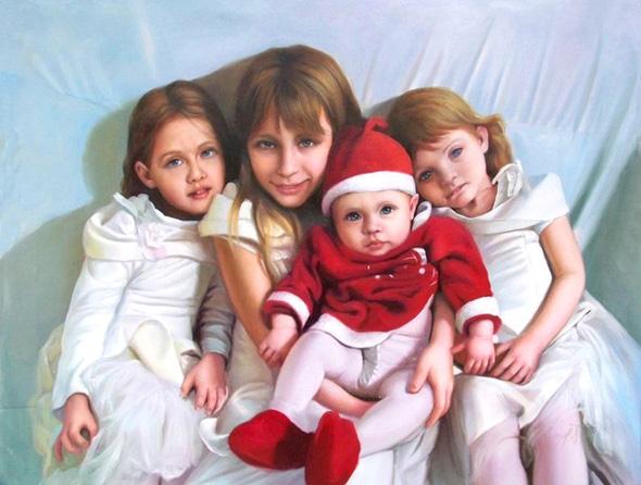 Magnifique portrait peinture à l'huile d'une famille heureuse