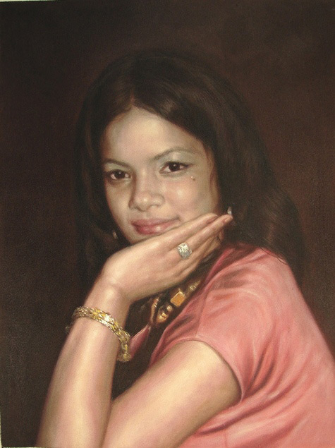 oil painting of a young lady