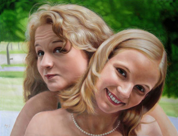 oil painting of 2 friends