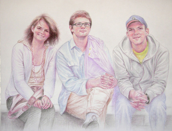 3 friends in color pencil portrait