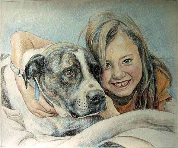 Color pencil dog portraits with girl