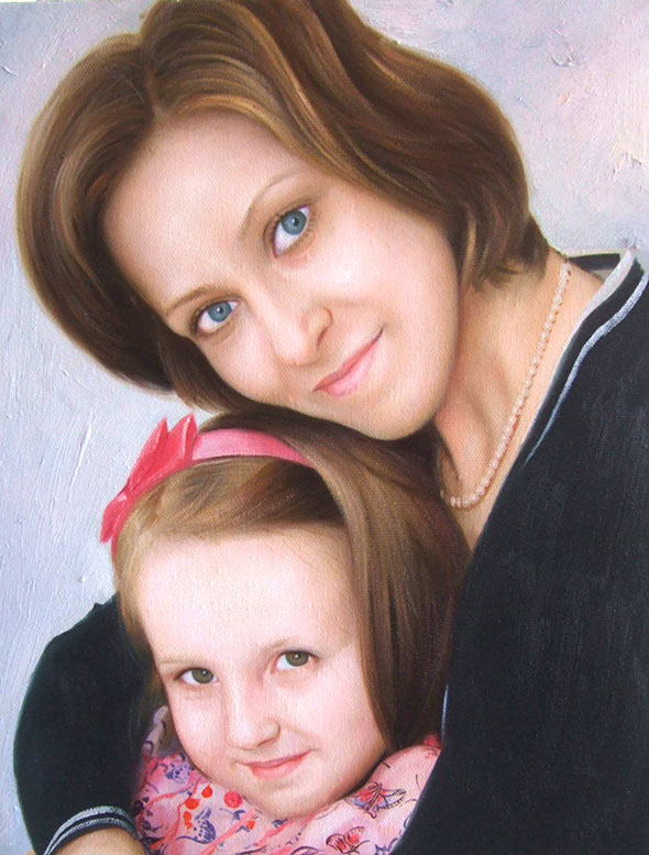 oil painting of a mother and her girl