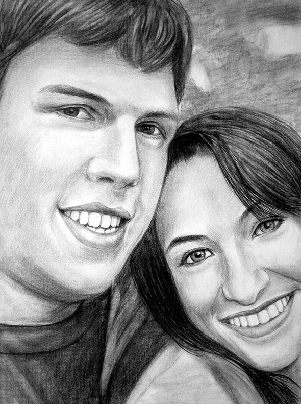 pencil drawing of a couple