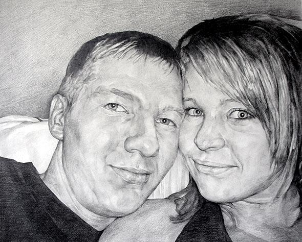 Familienfoto als Bleistiftzeichnung
