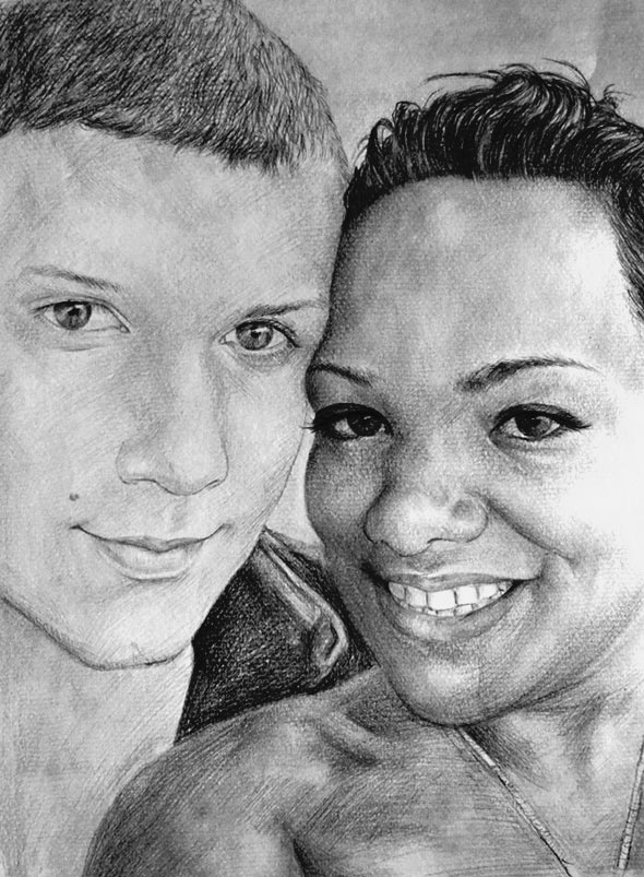 black pencil sketch of a couple