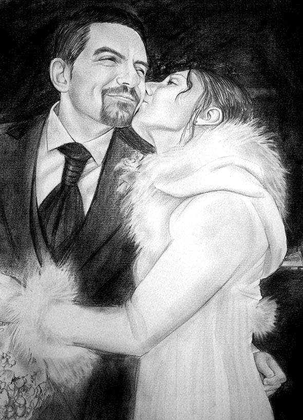 baciare la coppia come ritratto a matita