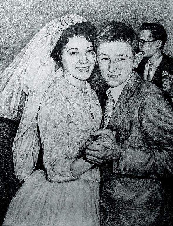 Foto de la boda como un dibujo al carbón