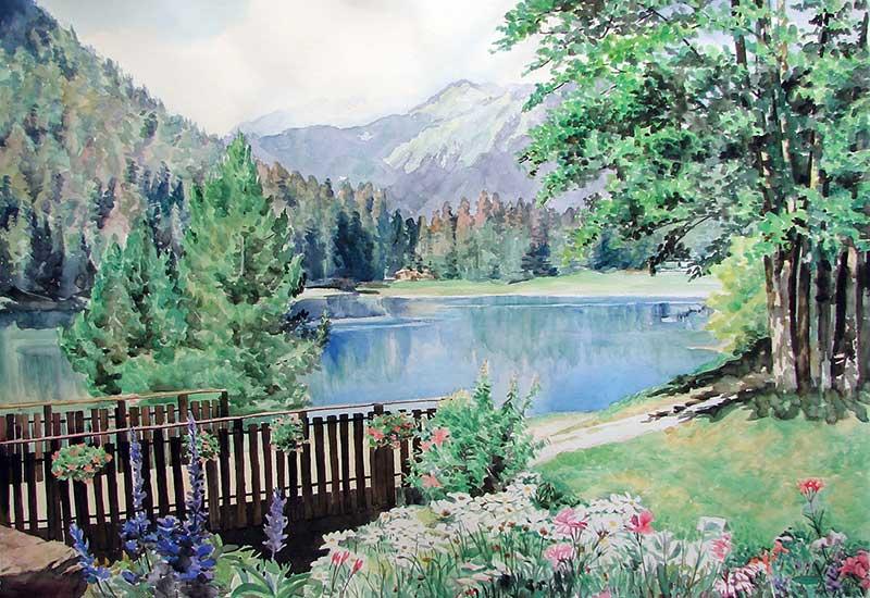 Paysage peint à l'aquarelle