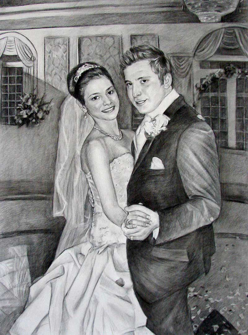 our wedding photo as charcoal portrait