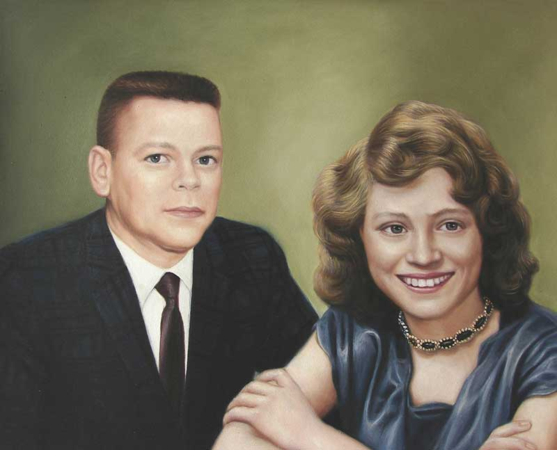 couple portrait in oil - vintage style
