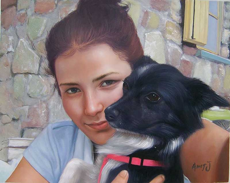 oil portrait of a young woman and her dog