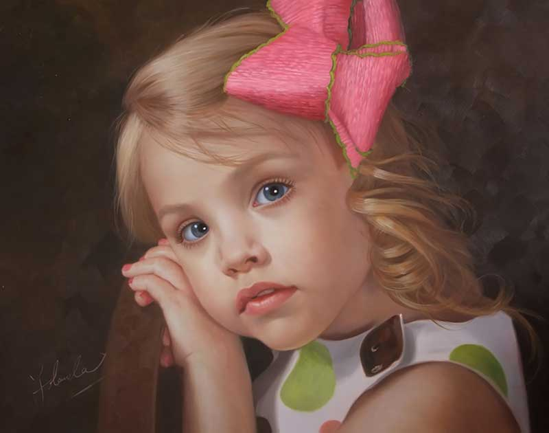 Turning photos to art - oil portrait of a girl