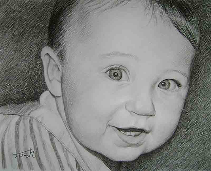 child photo in charcoal