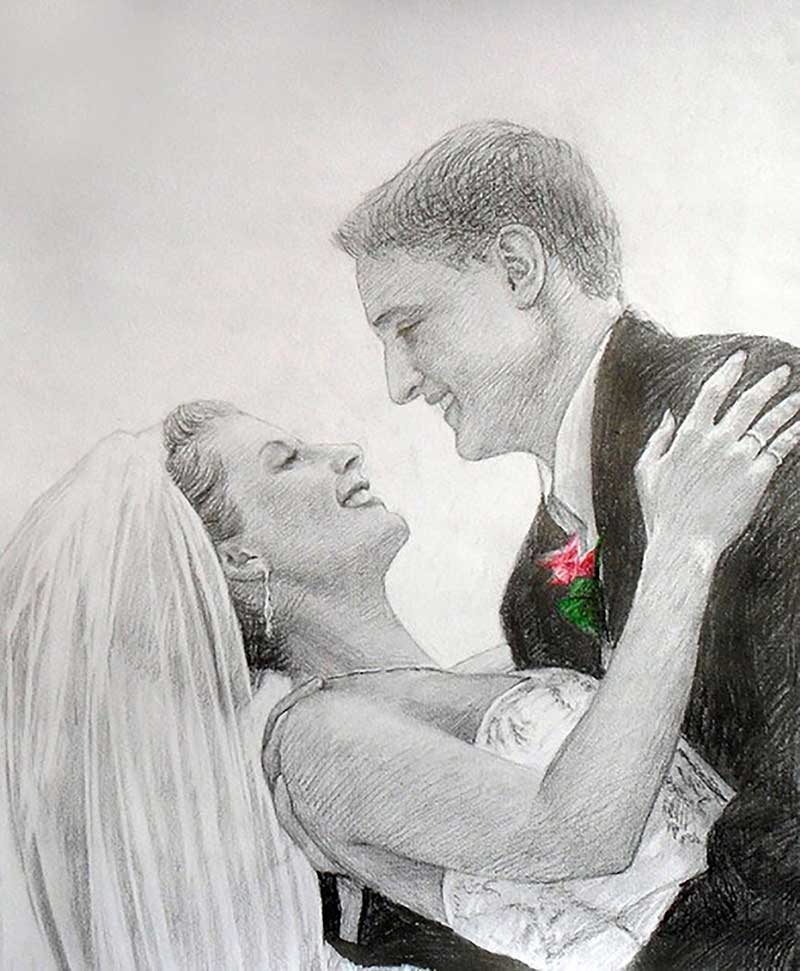 color pencil wedding portrait