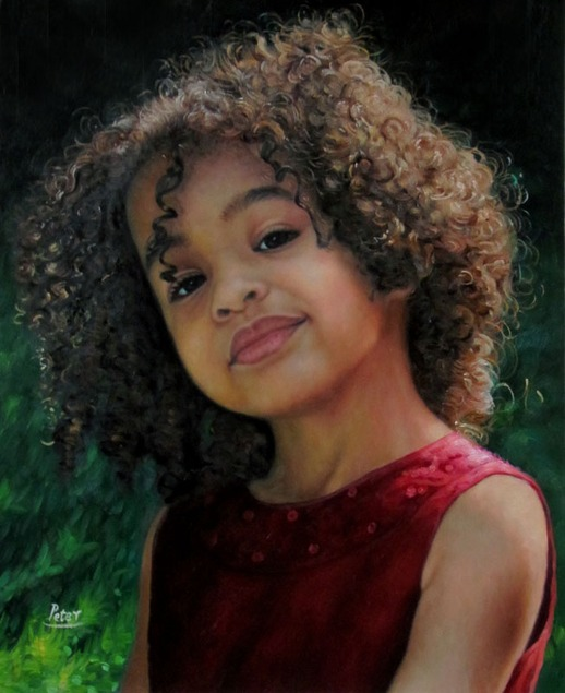 oil portrait painting of a girl with curly black hair